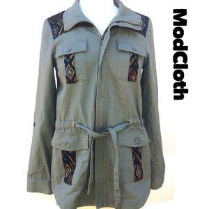 ModCloth Anorak Utility Jacket Army Green Aztec